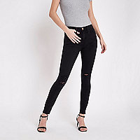 Molly  - Zwarte washed distressed jegging