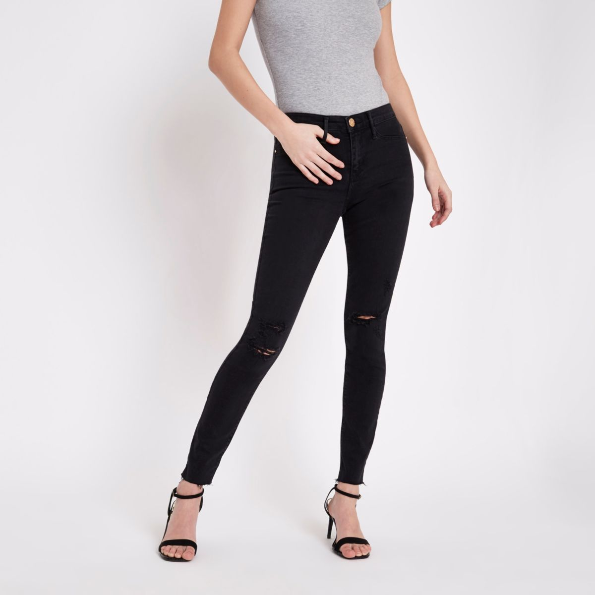 Black washed Molly distressed jeggings