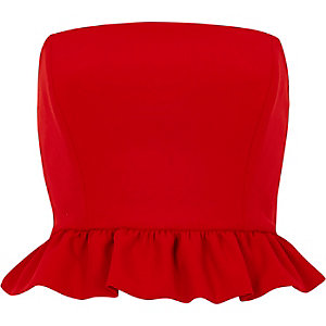 Red frill bandeau crop top