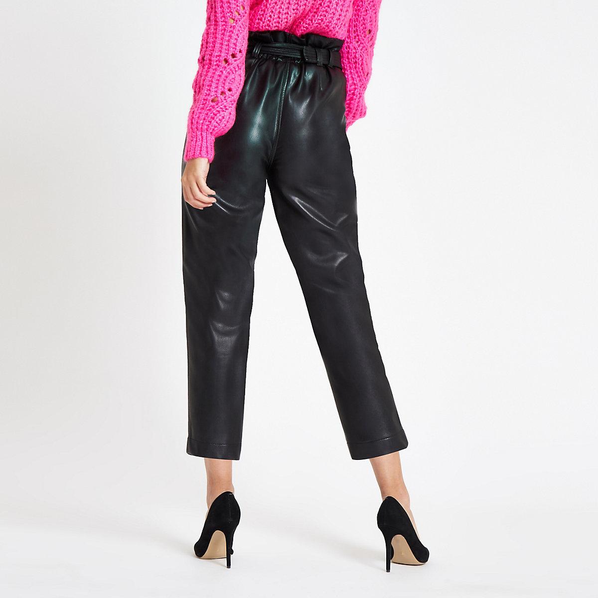 e7e396fe23 pantalones piel negro de sintética papel cintura con Pantalón cónicos de  TyqRWcyf