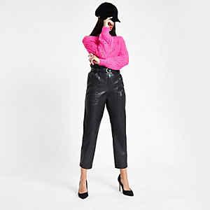 Black faux leather paper bag waist pants