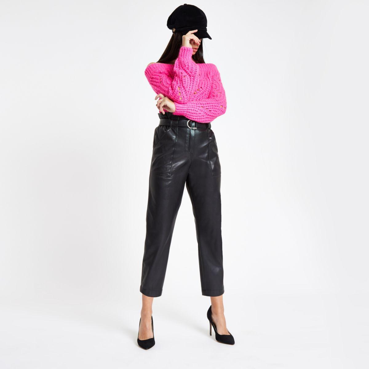 Black faux leather paper bag waist pants