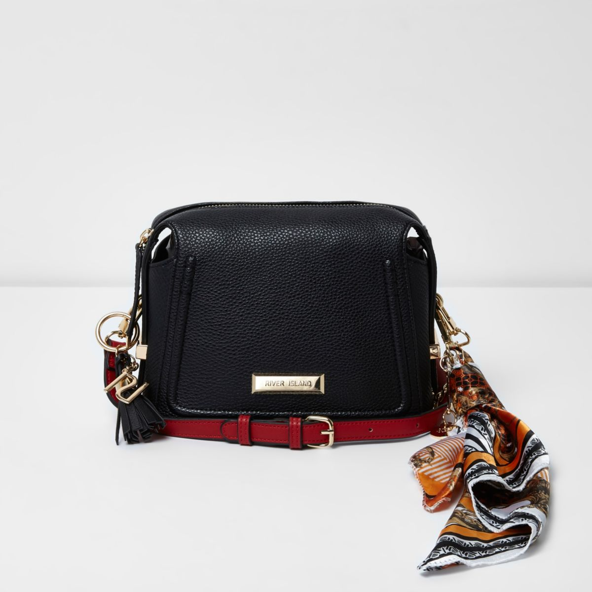 Black scarf strap cross body chain bag