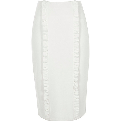Cream double frill panel jersey pencil skirt