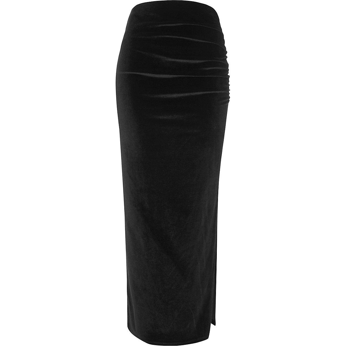 Black velvet ruched side maxi skirt