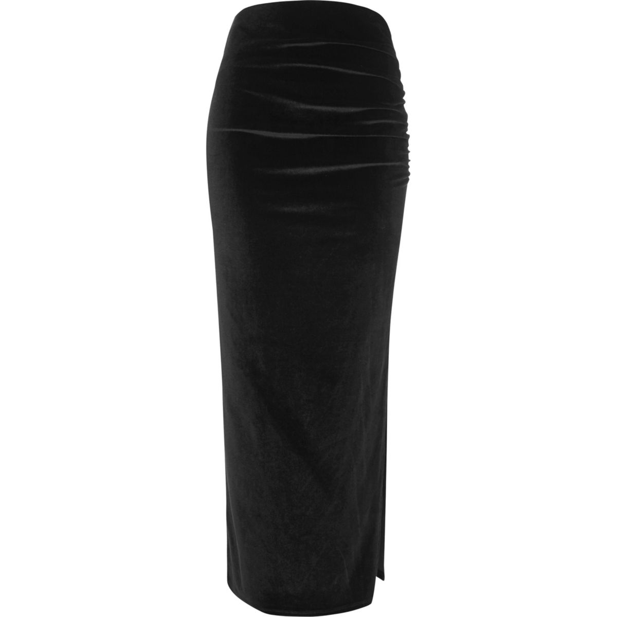 Black velvet ruched side maxi skirt