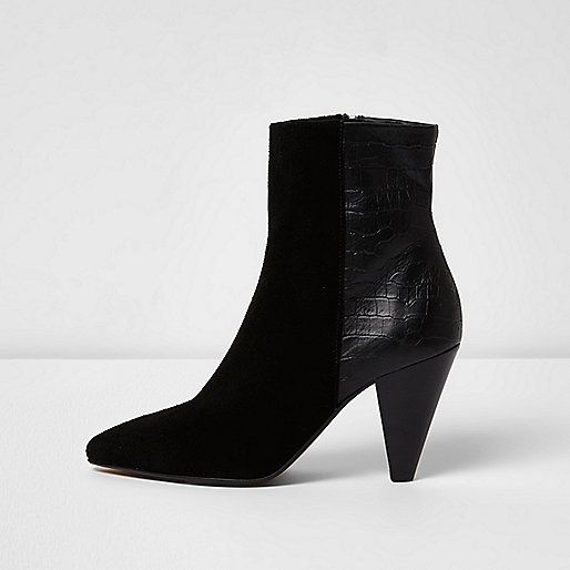 Black suede cone heel ankle boots