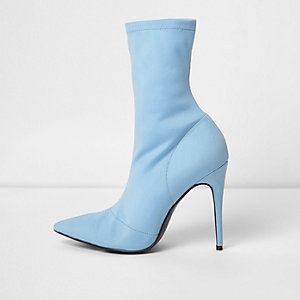 Light blue pointed scuba stiletto sock boots