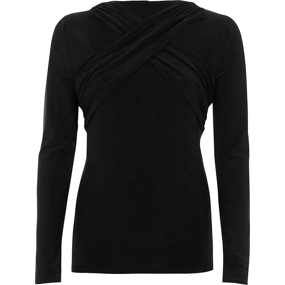 Black cross twist neck fitted long sleeve top