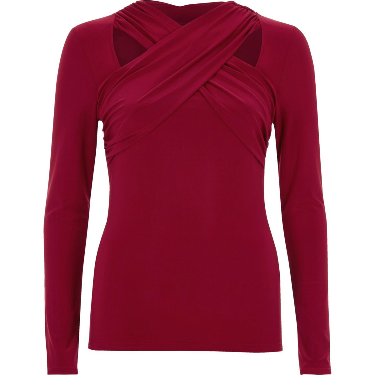 Red cross twist neck fitted long sleeve top