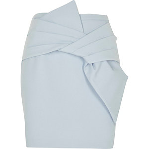 Blue bow front mini skirt