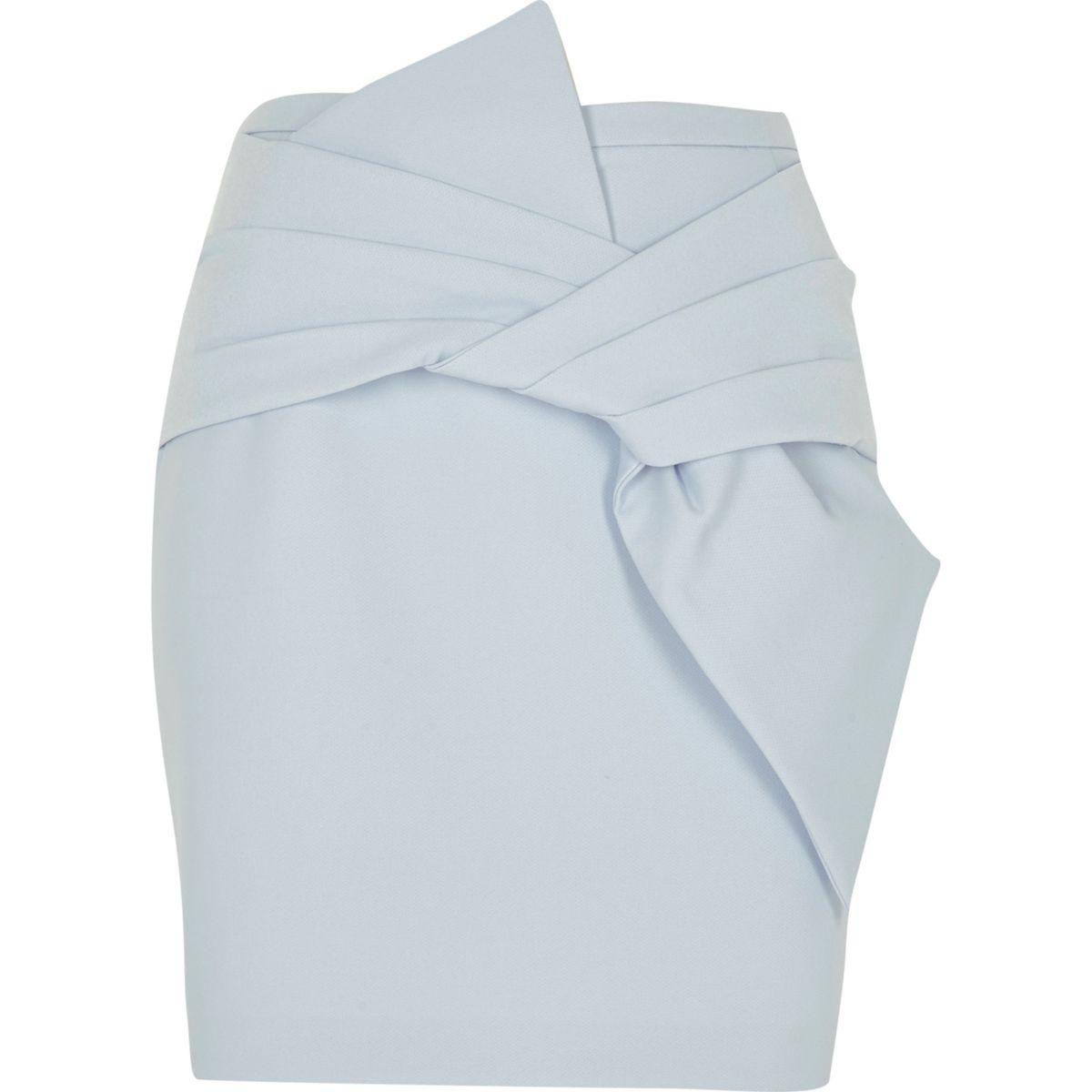 Blue bow front mini skirt
