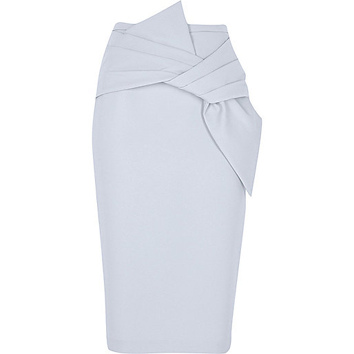 Blue bow front pencil skirt