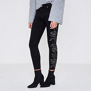 RI Petite - Amelie - Zwarte superskinny jeans met studs