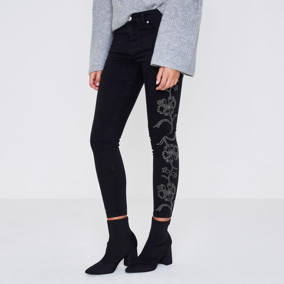 Petite black stud Amelie super skinny jeans
