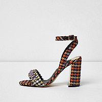 Sandales imprimé pied-de-poule noires à talons carrés
