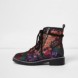 Black floral jacquard lace-up biker boots