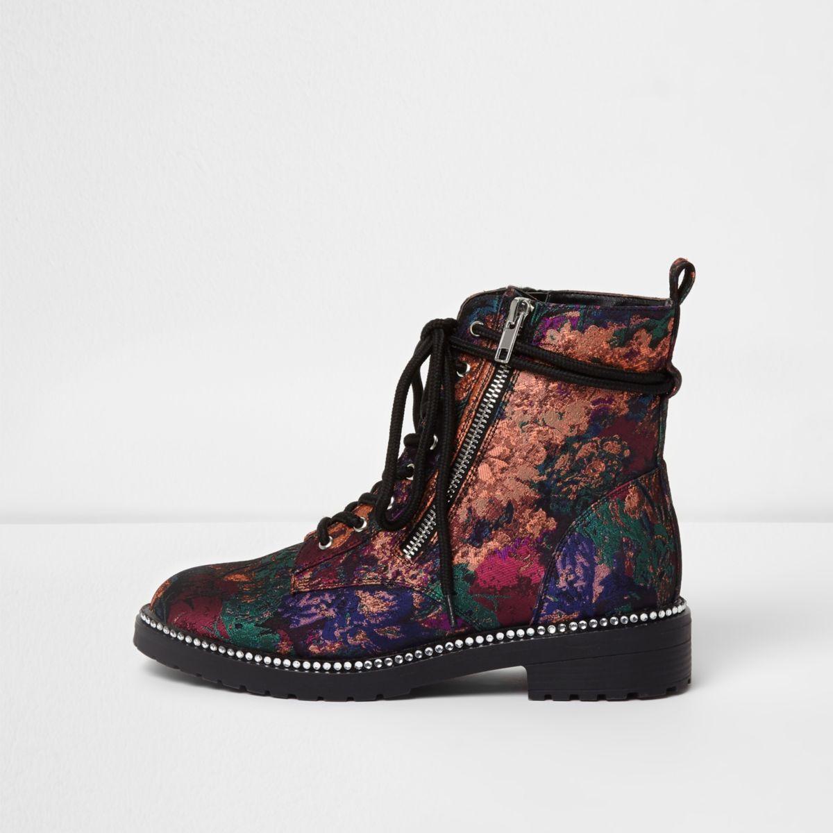 Black floral jacquard lace-up biker boots