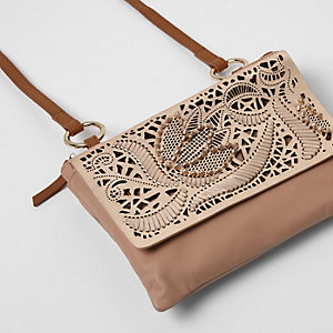 Pink suede laser cut cross body bag