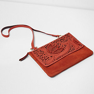 Red suede laser cut cross body bag