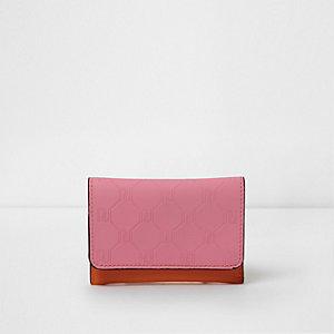 Kartenetui in Pink und Orange mit RI-Prägung