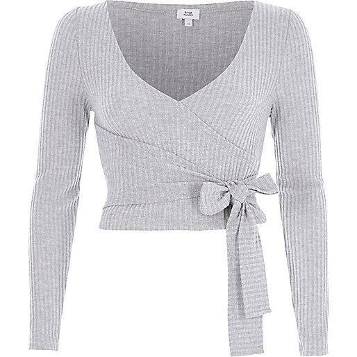 Grey brushed rib long sleeve wrap top