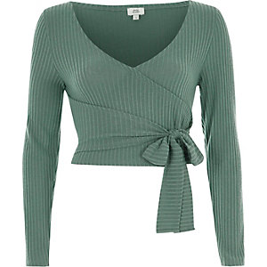 Green brushed rib long sleeve wrap top