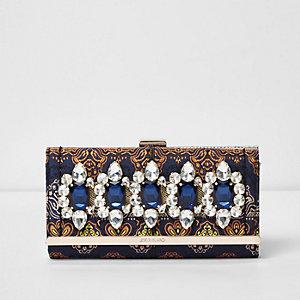 Porte-monnaie en brocard bleu brodé à fermoir clip
