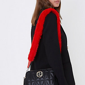 Red faux fur cross body bag strap