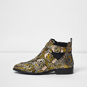 Gold jacquard multi buckle ankle boots