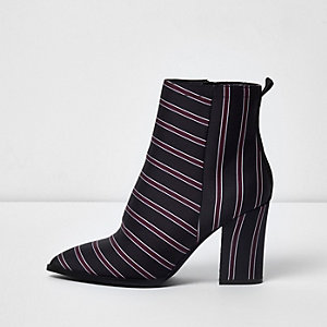 Navy stripe block heel ankle boots