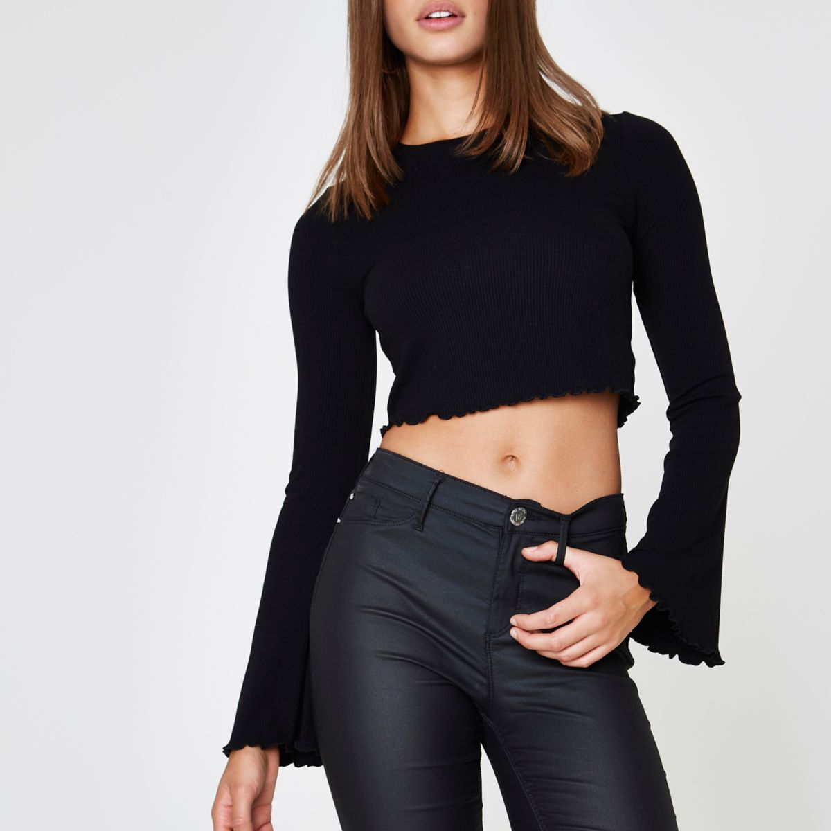 Black long bell sleeve ribbed crop top
