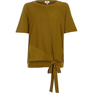Khaki high low knot front T-shirt