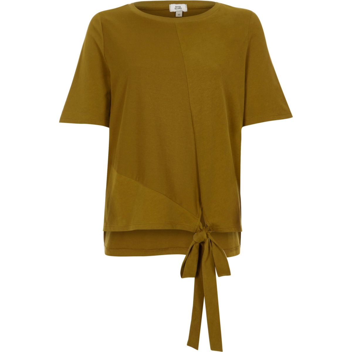 Khaki high low knot front T-shirt