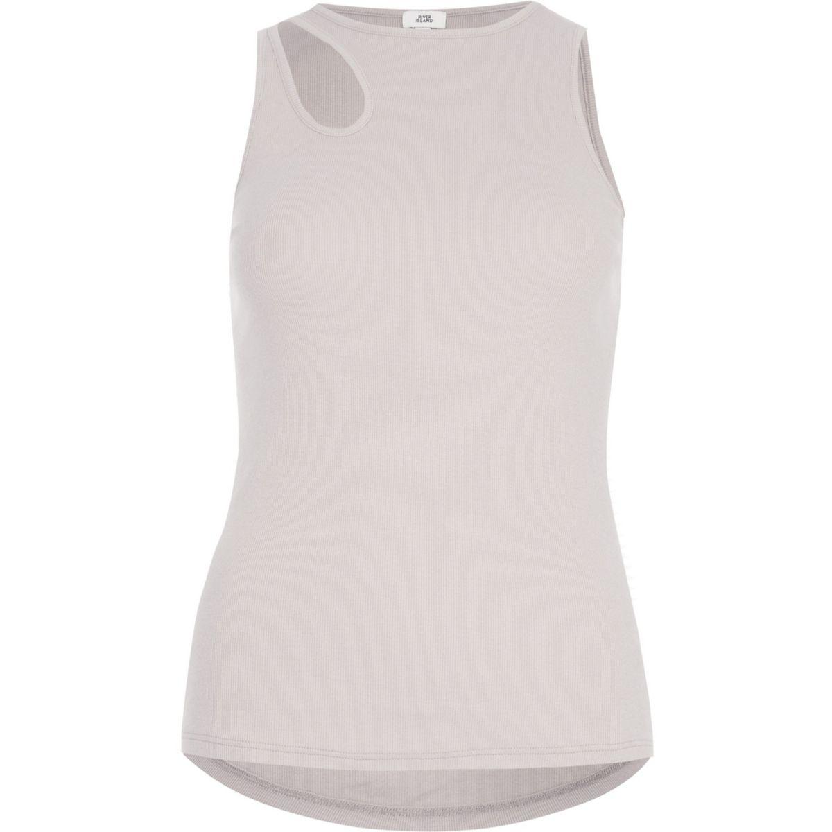 Beige sleeveless cut out tank top