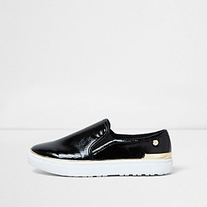 Black wide fit patent slip on plimsolls