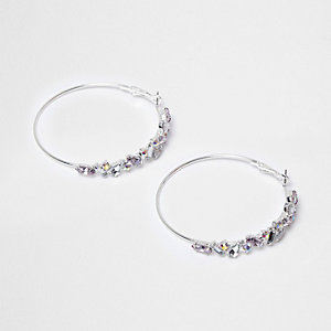 Silver tone jewel hoop earrings