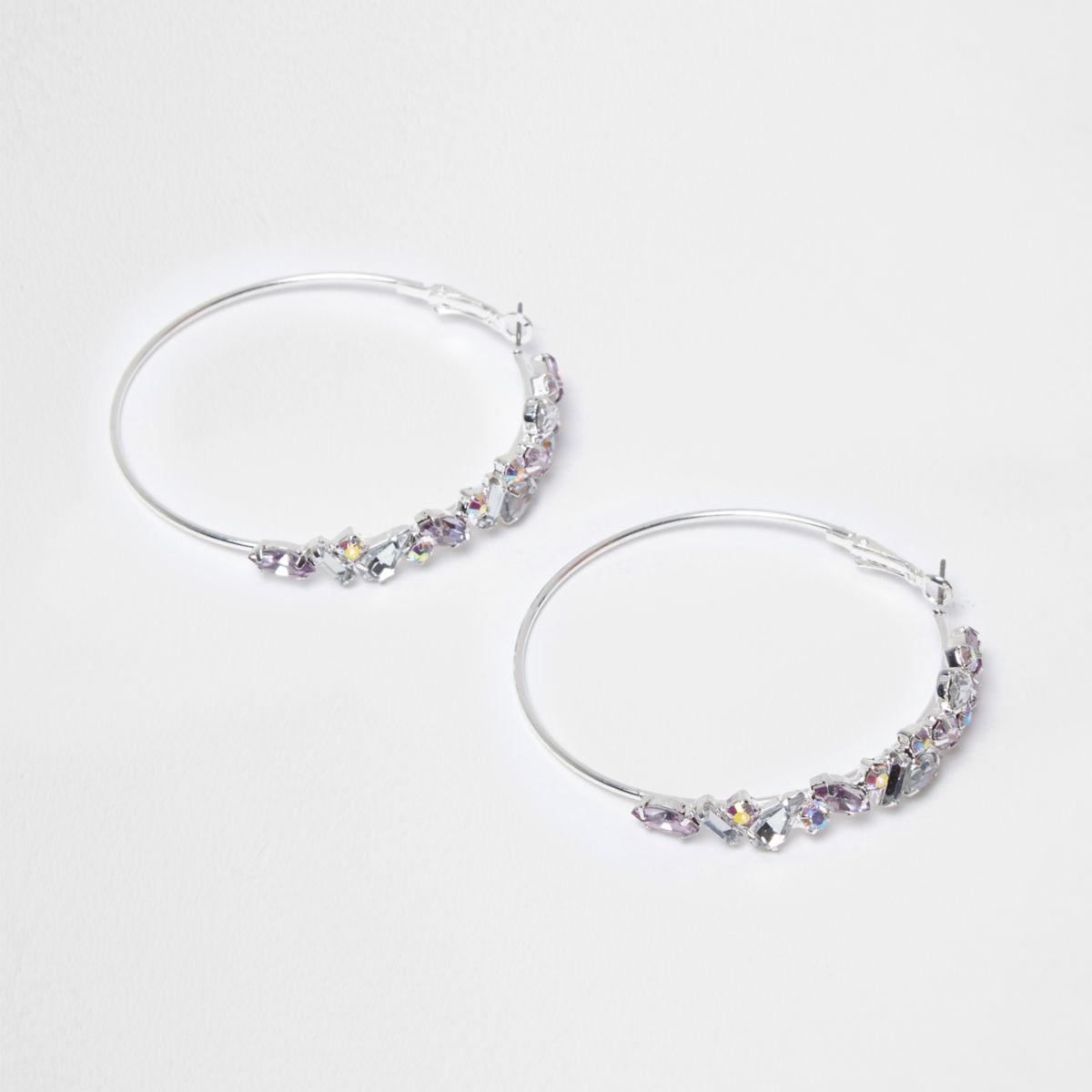 Silver tone jewel hoop earrings