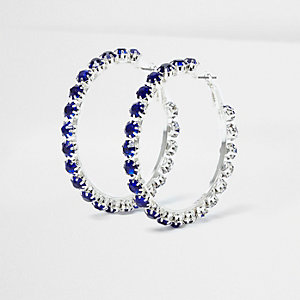 Silver tone sapphire encrusted hoop earrings