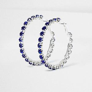 Silver tone sapphire encrusted hoop earrings