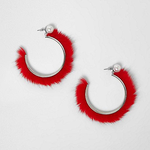 Red faux fur hoop earrings