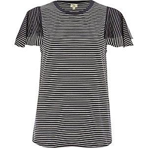 Marineblauw gestreept T-shirt met korte mouwen van mesh