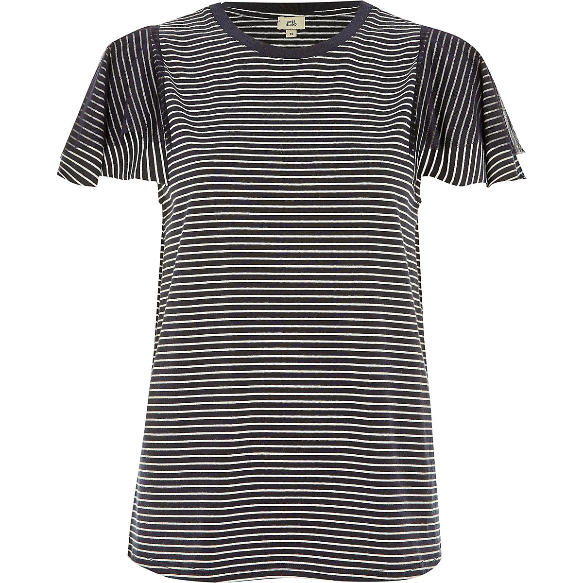 Navy stripe short mesh sleeve T-shirt