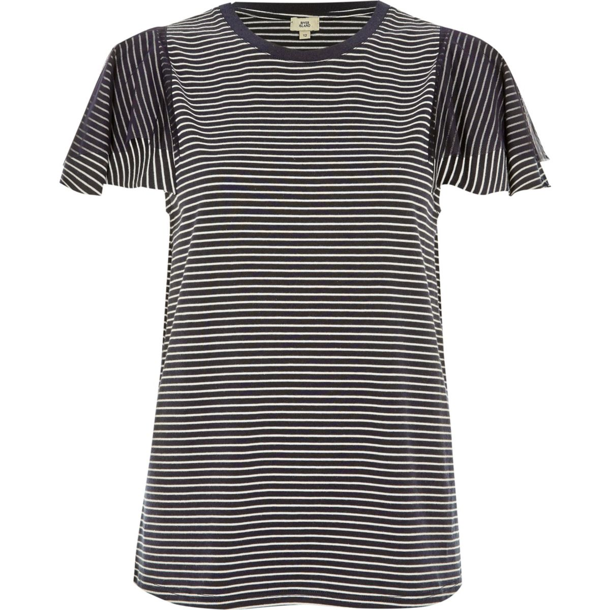 Navy stripe short mesh sleeve T-shirt