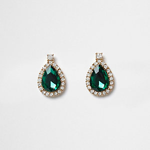 Green teardrop jewel stud earrings