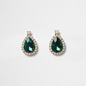 Green teardrop jewel stud earrings