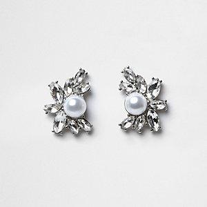 Silver tone jewel pearl cluster stud earrings