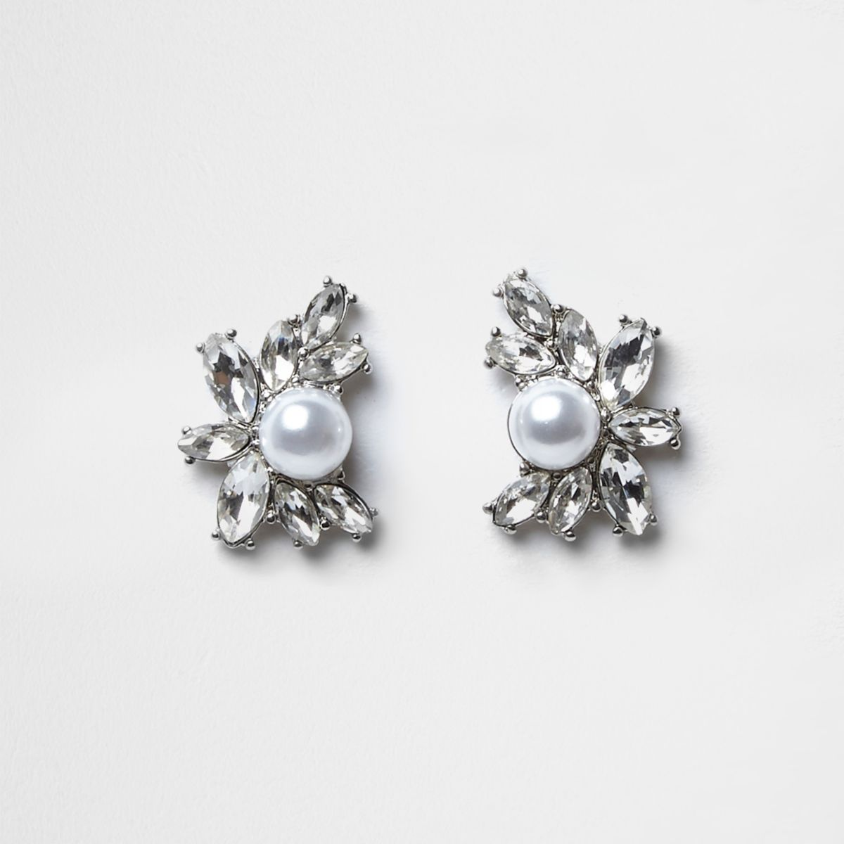 Silver tone jewel pearl cluster stud earrings