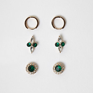 Gold tone emerald gem stud earrings multipack