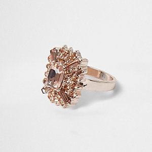 Rose gold tone orange jewel ring